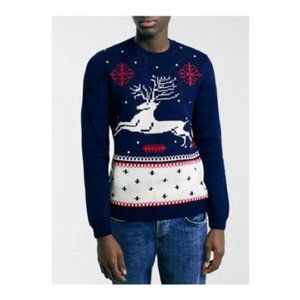TopMan Holiday Reindeer Sweater Size Small